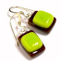 Chocolate Brown and Lime Green Fused Glass Earrings