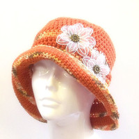Hat  -  Crochet  -    Orange  Beach Hat  -  Womans Sun Hat  -  Handmade Cloche  -  ooak