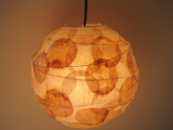 Coffee filter art sale hanging from lampada on etsy leo - Paper light fixtures ...
