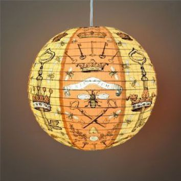"Amazon.com: ""Bees and Keys"" Decorative Hanging Paper Lantern with Light Kit (up to 40 watt bulb) - 13.75"" Diameter - With 15' Cord - Recycled Paper: Everything Else"