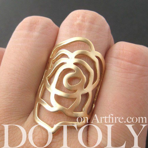 Large Rose Floral Cut Out Statement Ring in Gold in Sizes 5.5 - 7