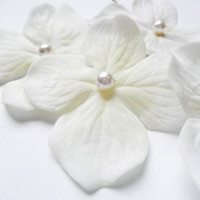 White Flower Hair Pins Ivory Swarovski Pearl Hydrangea (set of 5 bobby pins)