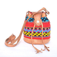 vintage colorful woven cotton and leather bucket bag
