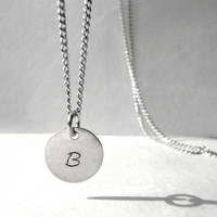 Handmade Necklace, Hand Stamped Letter Necklace, Sterling Silver Necklace, Personalized Necklace, Curb Chain Necklace, Perfect Gift, Artida