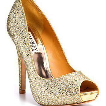 Badgley Mischka Peep Toe Platform Evening Pumps Sparkly Heels - Humbie II | Bloomingdale's