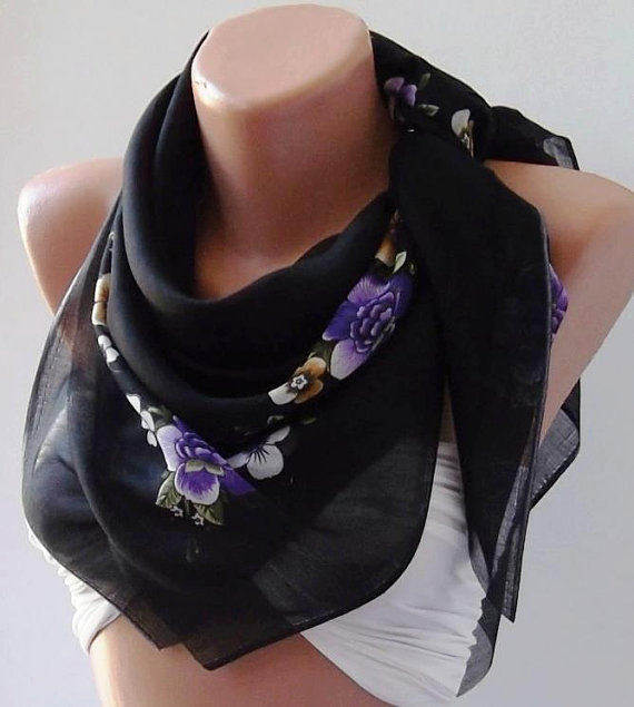Flowered Black and Purple Shawl - Cotton Scarf - Headband - Necklace Shawl