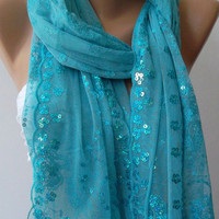 Elegant -Blue /Turkish Shawl -Scarf