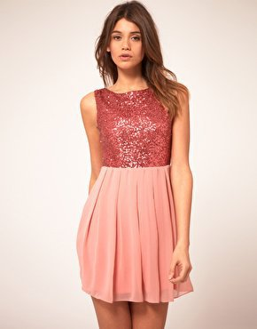 TFNC Babydoll Dress With Sequin Bodice at asos.com
