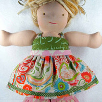 Waldorf doll dress and pants set - 16 inch Bamboletta American Girl doll pink green M2M Matilda Jane - Robe et pantalon - Ready to ship