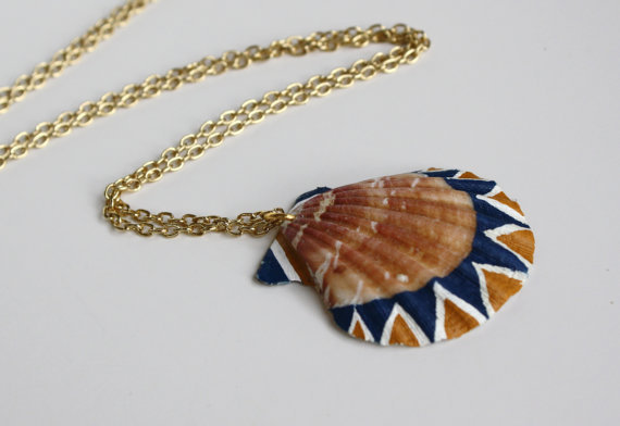 Sea shell necklace pendant necklace from seashorelove on for Mustard colored costume jewelry