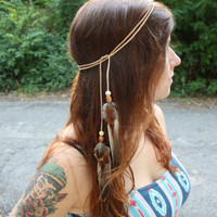 Light Leather and Feather Multi-Use Headband, Belt, Necklace, etc