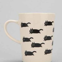 Running Cat Mug- Black & White One