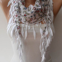 White and Flowered Scarf with White Trim Edge - Summer Colors - New