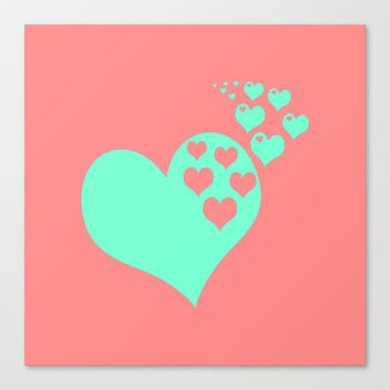 Love Coral Mint Canvas Print by Beautiful Homes
