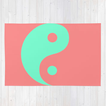 Yin Yang Coral Mint Area & Throw Rug by Beautiful Homes