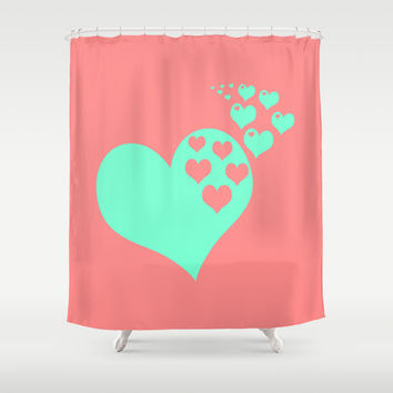 Love Coral Mint Shower Curtain by Beautiful Homes