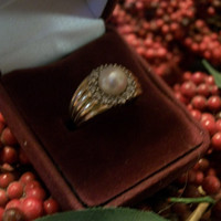 14kyg Diamond and Pearl Ring