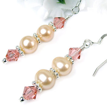 Peach Freshwater Pearl Dangles, Swarovski Crystals, Sterling Silver Hooks, Sweet and Elegant Earrings, Handmade Beaded Jewelry