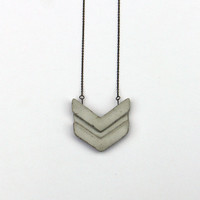 concrete chevron necklace / geometric concrete pendant / minimal jewelry