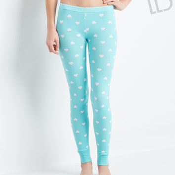 Aeropostale LLD Hearts Sleep Leggings - Atherial Aqua Neon,