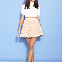FOREVER 21 Embroidered Rosette Skirt Seashell Pink