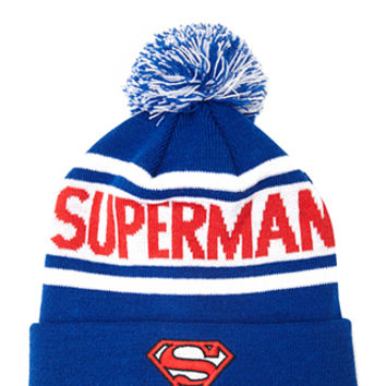 FOREVER 21 Superman Pom Beanie Blue/White One