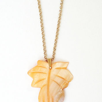 Leaf Necklace, Orange Leaf  Mother Of pearl Shell Gold Necklace, Shell Leaf Carved Pendant,  Fall Autumn Jewelry