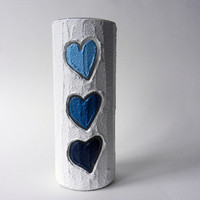 White Vase / 9 inch vase /  white home decor / blue hearts / blue heart vase / blue love / navy blue and white