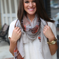 Plaid Scarf {Mocha+ Orange} - Mocha + Orange Plaid Scarf