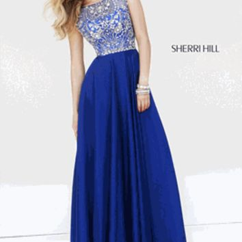 Sherri Hill 2015 Style 32017 Size 0 Teal or Size 6 Nude