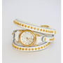 White Triple Wrap Studded Circle Watch