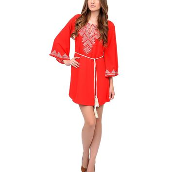 1970s Style Watermelon Embroidered Open Sleeve Tunic Dress