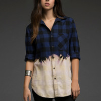 Plaid Dip-Dyed Flannel Shirt