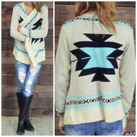 Curling Willow Mint Aztec Sweater Cardigan