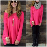 Galloway Cherry Piko Long Sleeve Top