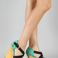 Qupid Finder-52 Strappy Colorblock Wedge
