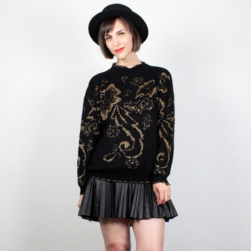 Vintage 80s Sweater Black Gold Metallic Pullover 1980s Jumper Floral Paisley Print Art Deco Cosby Sweater Cozy Knit M Medium L Large