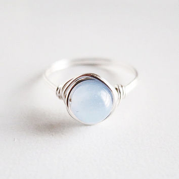 Frozen Ice Blue Pearl Ring - unique rings - custom