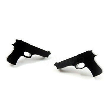 Black Pistol Earrings - Gun Earring Studs - Small Black Earrings - Gift for her 15 - Free Shipping