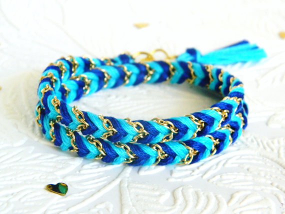Neon Capri Blue & Rich Navy - Chevron Braided Double Wrap Modern Friendship Bracelet - Gold Chain