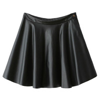 Black High Waist PU Skater Skirt - Choies.com