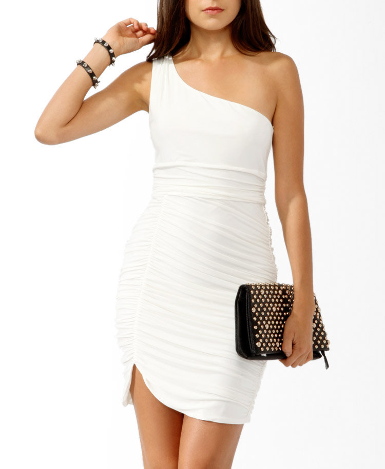 Ruched White One-Shoulder Dress