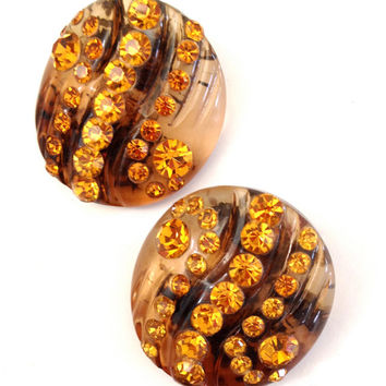 Vintage Faux Tortoise Shell and Rhinestone Earrings