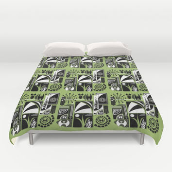 Green delight Duvet Cover by Robleedesigns