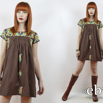 Vintage 70s Brown Embroidered Mini Dress S M L Brown Mexican Dress Embroidered Dress Hippie Dress Hippy Dress Boho Dress Oaxacan Dress