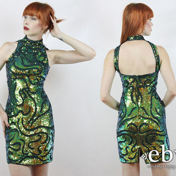 Vintage 90s Green + Gold Sequin Mini Dress XS Cocktail Dress Glam Dress Disco Dress Bodycon Dress Prom Dress Bandage Dress Mermaid Dress