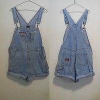 Overall Shorts / Womens Denim Overalls / Hip Hop 90s Clothing / Size Large