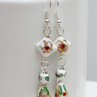 Long white cloisonne earrings