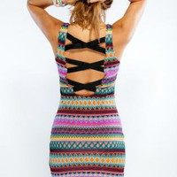 Bright Printed Sleeveless Dress with Low Cut Lattice Back