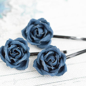 Hair accessories, Hair pins, Dark blue jean, Kids hair accessories, Jean hair clip, Kids fashion, Denim style accessories, Denim hair piece